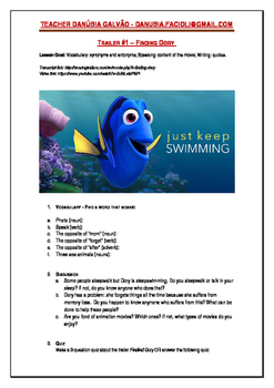 """""""Finding Dory"""" Movie Trailer Lesson"""