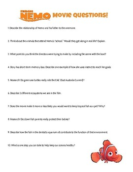 Finding Nemo Movie Worksheets & Teaching Resources | TpT
