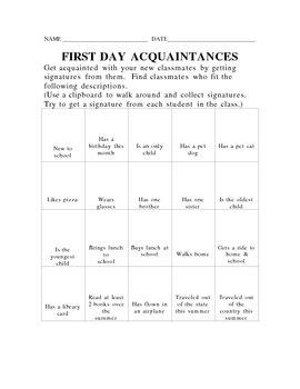 First Day BINGO Acquaintances