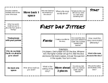 """""""First Day Jitters"""" Comprehension Game Board"""