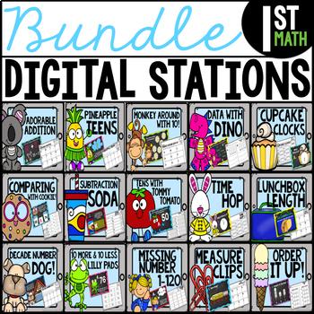 ****First Grade Digital Math Stations BUNDLE****