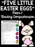 """""""Five Little Easter Eggs"""" Poem Reading Comprehension Worksheet Spring"""