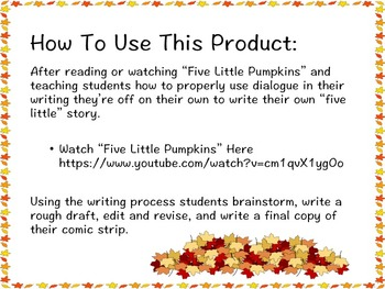 """Five Little"" A Halloween & Fall Writing Project"