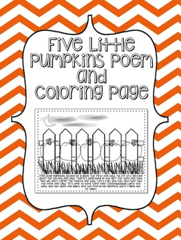 """Five Little Pumpkins"" Poem and Coloring Page"
