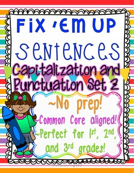 """Fix 'Em Up"" Sentences to edit/correct! *CAPITALIZATION & PUNCTUATION SET 2*"