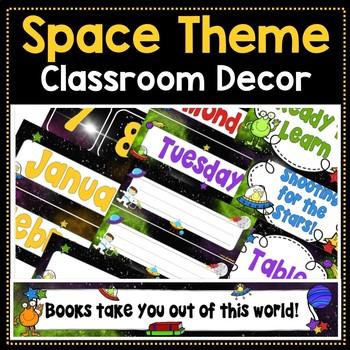 Editable Space Theme Classroom Decor Bundle