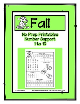 No Prep Math - Say It - Trace It - Read It - Circle It - 10 Frame It for 1 - 10