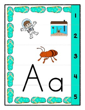 Teaching by the Letter - Flip Flops theme - Focus Letter A