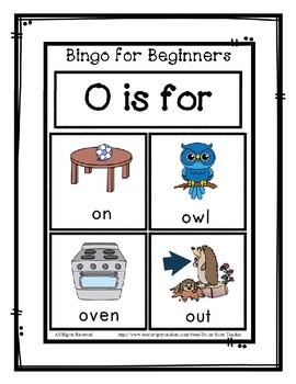 Bingo for Beginners ~ Preschool ~ Focus Letter O Sound