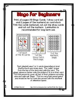 Bingo for Beginners ~ Preschool ~ Focus Letter R Sound