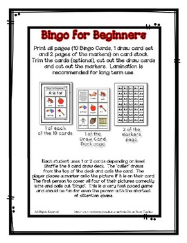 Bingo for Beginners ~ Preschool ~ Focus Letter A Sound