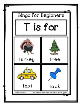 Bingo for Beginners ~ Preschool ~ Focus Letter T Sound