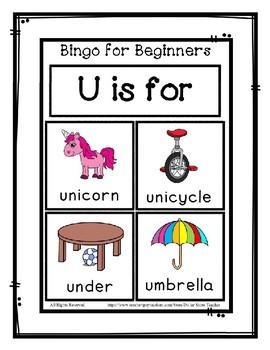 Bingo for Beginners ~ Preschool ~ Focus Letter U Sound