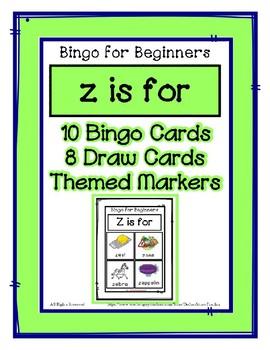 Bingo for Beginners ~ Preschool ~ Focus Letter Z Sound