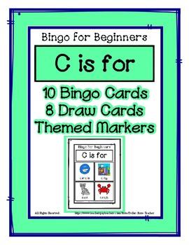 Bingo for Beginners ~ Preschool ~ Focus Letter C Sound