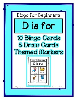 Bingo for Beginners ~ Preschool ~ Focus Letter D Sound