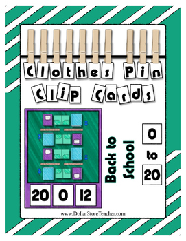 Back to School Clothes Pin Clip Cards Counting to 20 Math Center