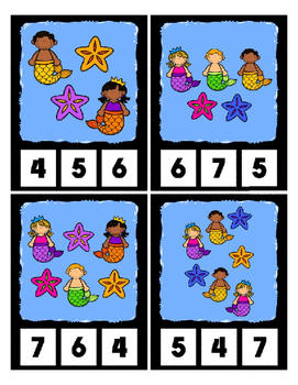 Counting to 20 Clip Cards Mermaid Under Water Math Center