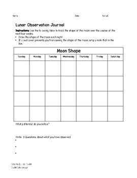 Solar and Lunar Phenomenon Observation Journal for MS-ESS1-1