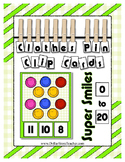 Super Smiles Clothes Pin Clip Cards Counting to 20 Math Center
