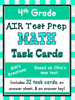 4th grade AIR Math Test Prep (Ohio) Task Cards