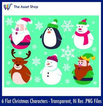 Flat 'Christmas Characters' Set (Digital Clip Art)