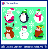 Flat 'Christmas Characters' Set (Digital Clip Art)
