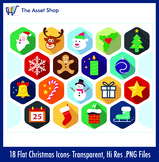Flat 'Christmas Icons' Set (Digital Clip Art)