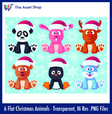 Flat 'Christmas Animals' Set (Digital Clip Art)