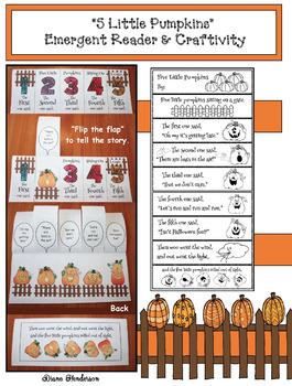 """""""Five Little Pumpkins"""" Flip the Flap Craftivity & Emergent Reader Booklet"""