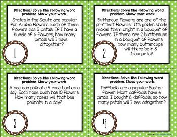 {Flower Themed} Multiplication Word Problem Task Cards