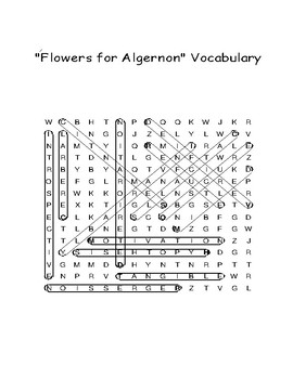 """""""Flowers for Algernon"""" Vocabulary Word Search With Definitions (Daniel Keyes)"""