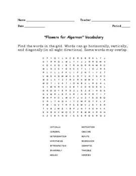 """""""Flowers for Algernon"""" Vocabulary Word Search Words Only (Daniel Keyes)"""