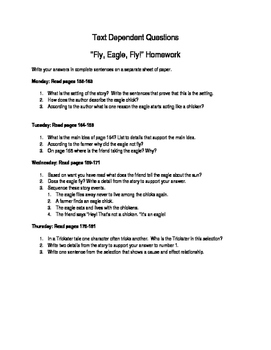 """Fly, Eagle, Fly"" Text Dependent Questions"
