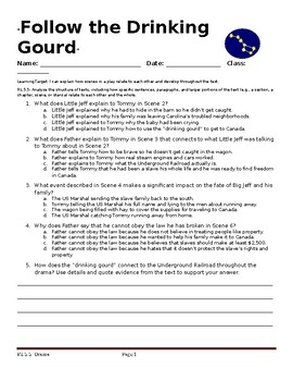 """Follow The Drinking Gourd"" Drama Formative Assessment Questions-RL 5.5"