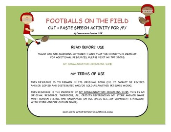{Footballs on the Field} Speech Therapy Game for Initial /F/