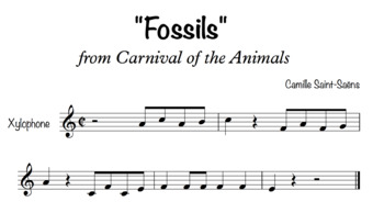 """""""Fossils"""" Main Theme from Carnival of the Animals for Xylophones"""