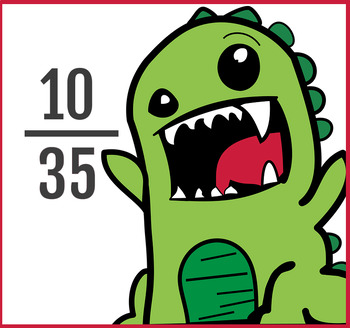 """""""Fraction Monster"""" Equivalent Fractions, (Reducing)100 problems 2sheets 4.NF.A.1"""