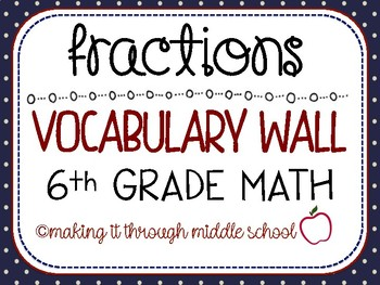 {Fractions} Unit Vocabulary Wall