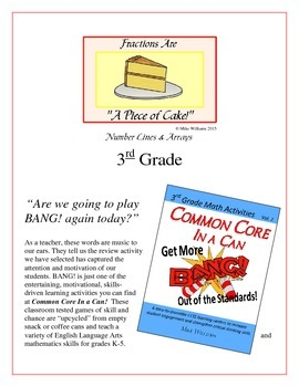 """Fractions are a Piece of Cake!"" Number Lines and Arrays 3rd Grade Game Packet"