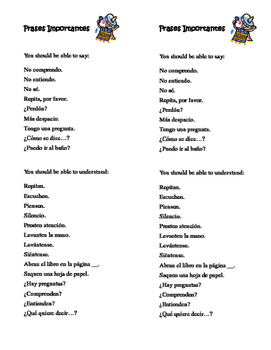 """""""Frases Importantes"""": Classroom Phrases Handout"""