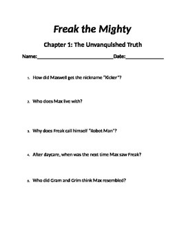 Freak The Mighty Chapter Questions Teaching Resources Teachers Pay