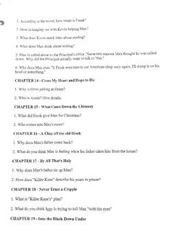"""""""Freak the Mighty"""" Novel Study Questions"""