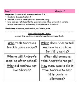 """Freckle Juice"" Book Club Activity (2nd Grade)"