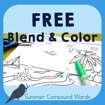 *FREE* - Blend & Color: Summer Compound Words - Phonological Awareness Activity