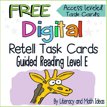 (Free) Digital Task Cards Retell App (Guided Reading Level E) Interactive PDF