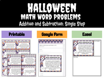 ***Free*** Halloween Word Problems Task Cards - Addition & Subtraction