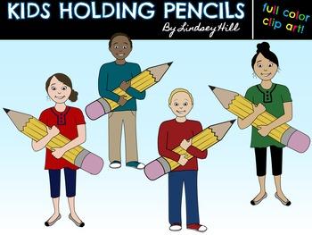 {Free} Kids Holding Pencils Clip Art