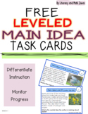 (Free) Leveled Main Idea Task Cards (Lexile and Guided Rea