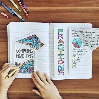 FREE Math Doodles Interactive Notebook Bundle 9 - Fractions and Decimals
